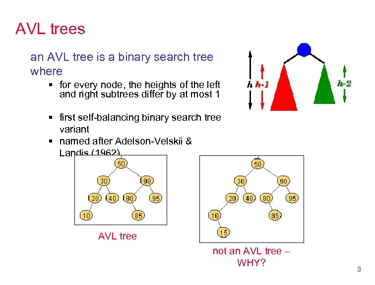 AVL trees an AVL tree is a binary search tree where § for every