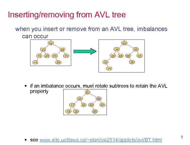 Inserting/removing from AVL tree when you insert or remove from an AVL tree, imbalances