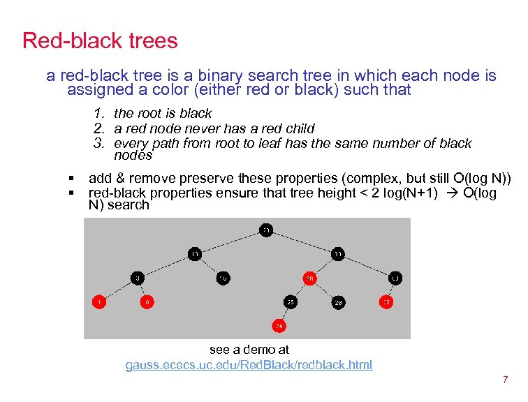 Red-black trees a red-black tree is a binary search tree in which each node
