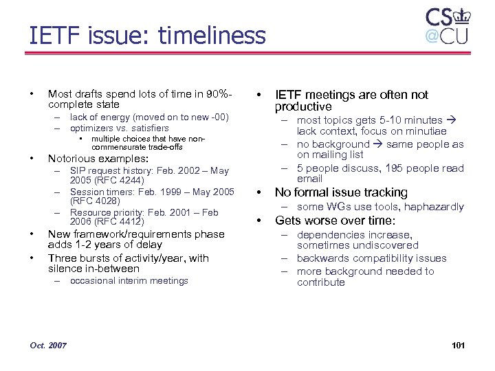 IETF issue: timeliness • Most drafts spend lots of time in 90%complete state •