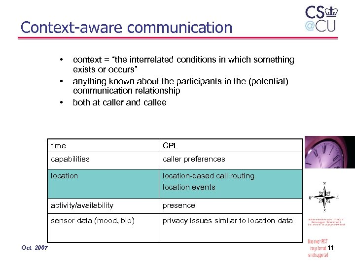"Context-aware communication • • • context = ""the interrelated conditions in which something exists"