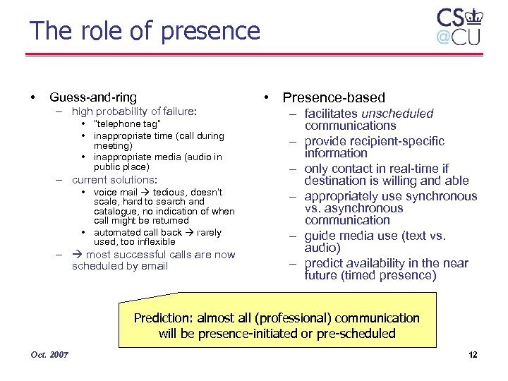 "The role of presence • Guess-and-ring – high probability of failure: • ""telephone tag"""