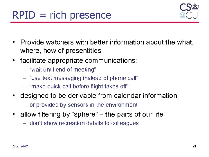 RPID = rich presence • Provide watchers with better information about the what, where,