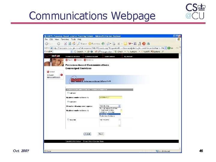 Communications Webpage Oct. 2007 46