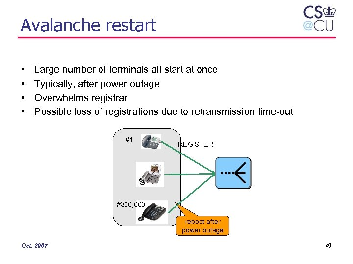 Avalanche restart • • Large number of terminals all start at once Typically, after