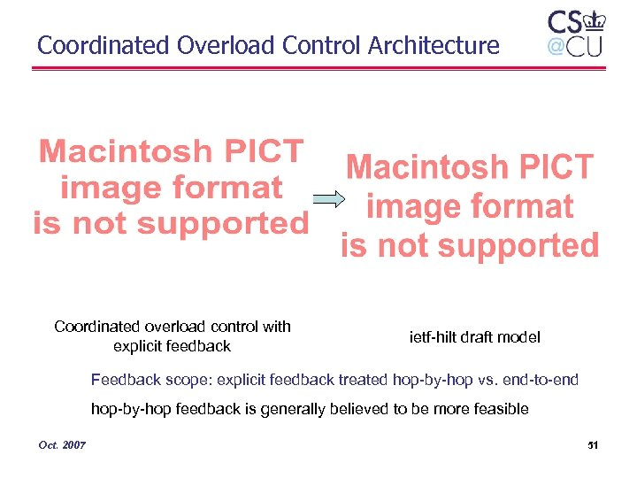 Coordinated Overload Control Architecture Coordinated overload control with explicit feedback ietf-hilt draft model Feedback