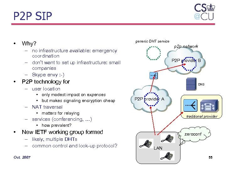 P 2 P SIP • Why? generic DHT service p 2 p network –