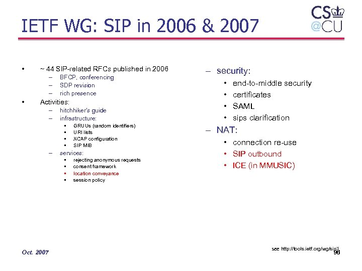 IETF WG: SIP in 2006 & 2007 • ~ 44 SIP-related RFCs published in