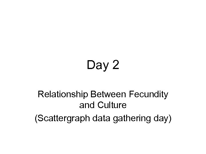 Day 2 Relationship Between Fecundity and Culture (Scattergraph data gathering day)