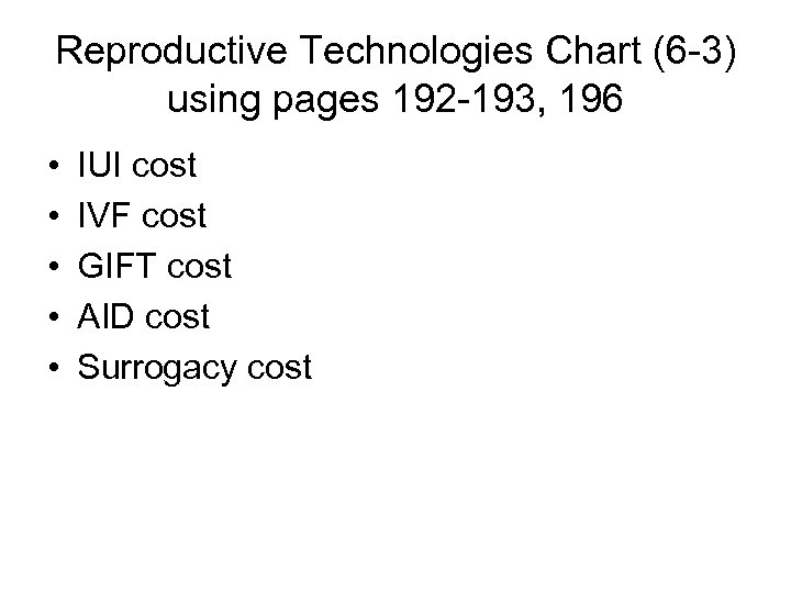 Reproductive Technologies Chart (6 -3) using pages 192 -193, 196 • • • IUI