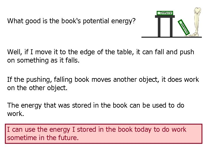 Qwertyuiop yu ert Qw What good is the book's potential energy? Well, if I