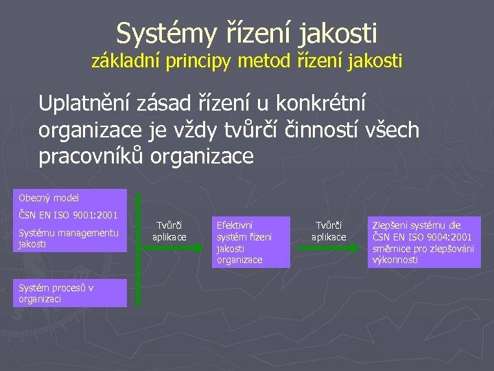 Systémy řízení jakosti základní principy metod řízení jakosti Uplatnění zásad řízení u konkrétní organizace