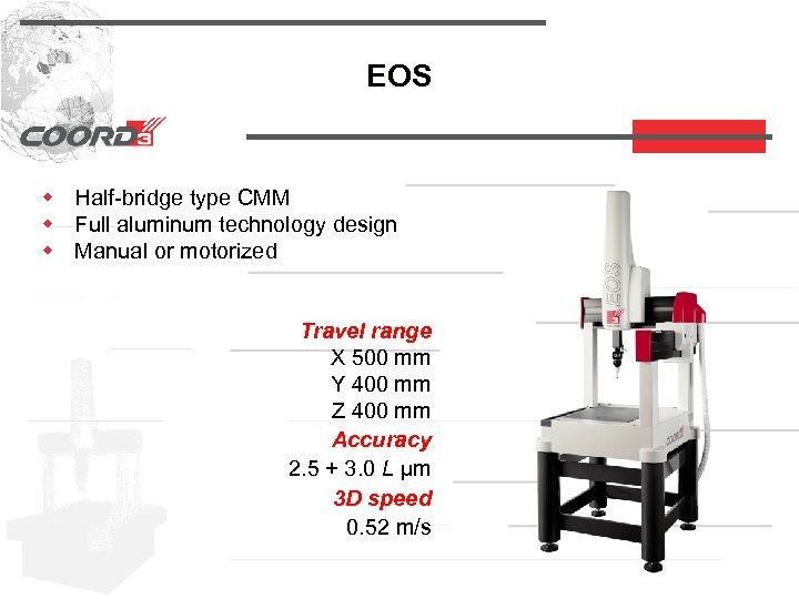 EOS w Half-bridge type CMM w Full aluminum technology design w Manual or motorized
