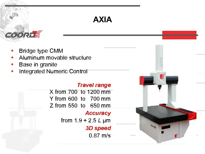 AXIA w w Bridge type CMM Aluminum movable structure Base in granite Integrated Numeric