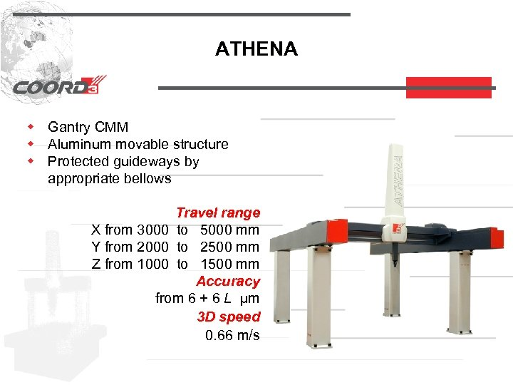 ATHENA w Gantry CMM w Aluminum movable structure w Protected guideways by appropriate bellows
