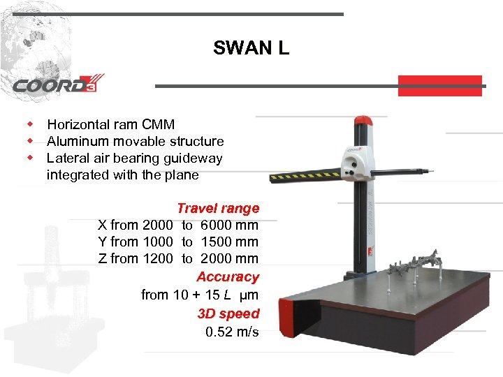 SWAN L w Horizontal ram CMM w Aluminum movable structure w Lateral air bearing