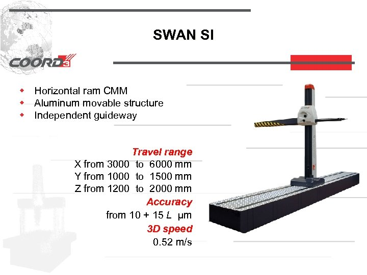 SWAN SI w Horizontal ram CMM w Aluminum movable structure w Independent guideway Travel