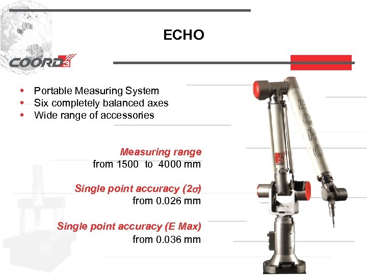 ECHO w Portable Measuring System w Six completely balanced axes w Wide range of