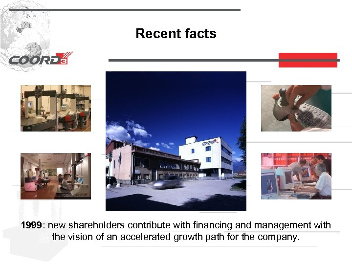 Recent facts 1999: new shareholders contribute with financing and management with 1999 the vision