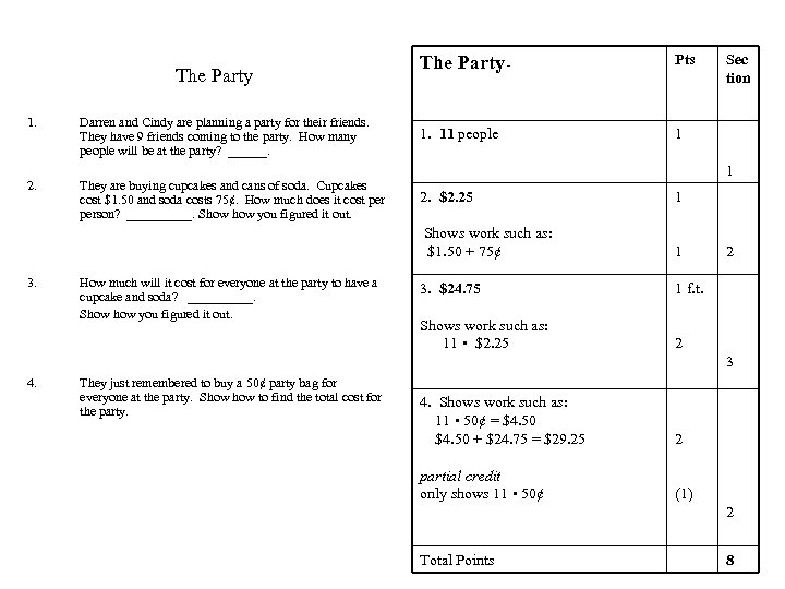 The Party 1. Darren and Cindy are planning a party for their friends. They
