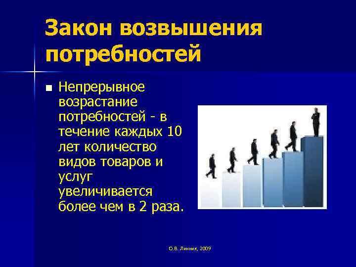 Закон возвышения потребностей n Непрерывное возрастание потребностей - в течение каждых 10 лет количество