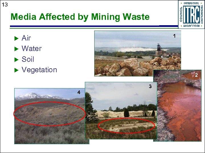 13 Media Affected by Mining Waste u u 1 Air Water Soil Vegetation 2