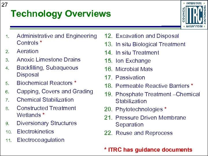 27 Technology Overviews 1. 2. 3. 4. 5. 6. 7. 8. 9. 10. 11.