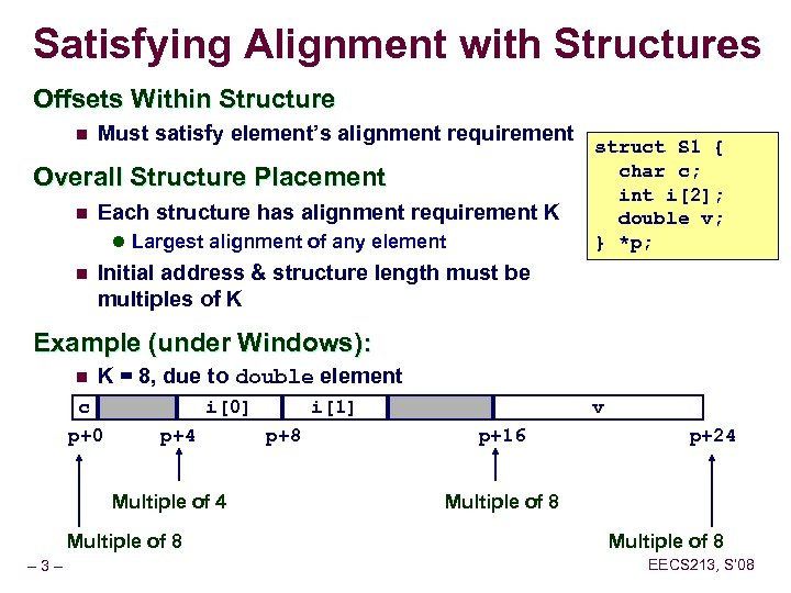 Satisfying Alignment with Structures Offsets Within Structure n Must satisfy element's alignment requirement Overall