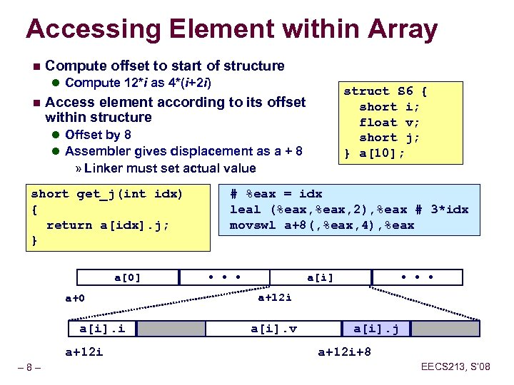 Accessing Element within Array n Compute offset to start of structure l Compute 12*i