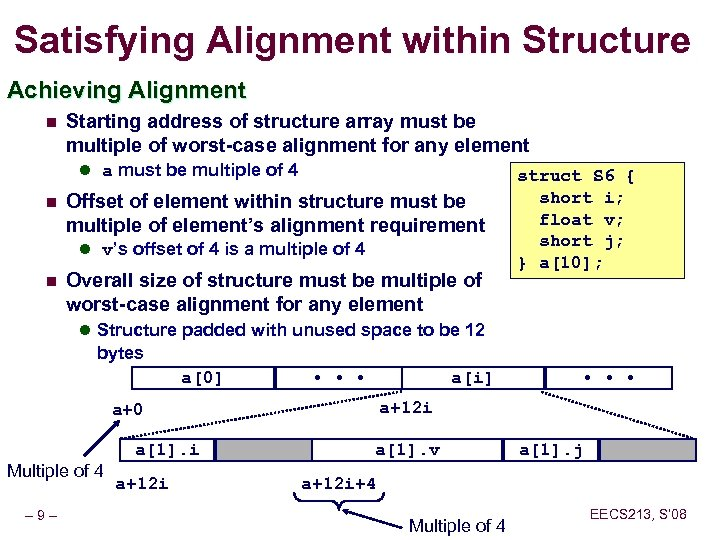 Satisfying Alignment within Structure Achieving Alignment n Starting address of structure array must be