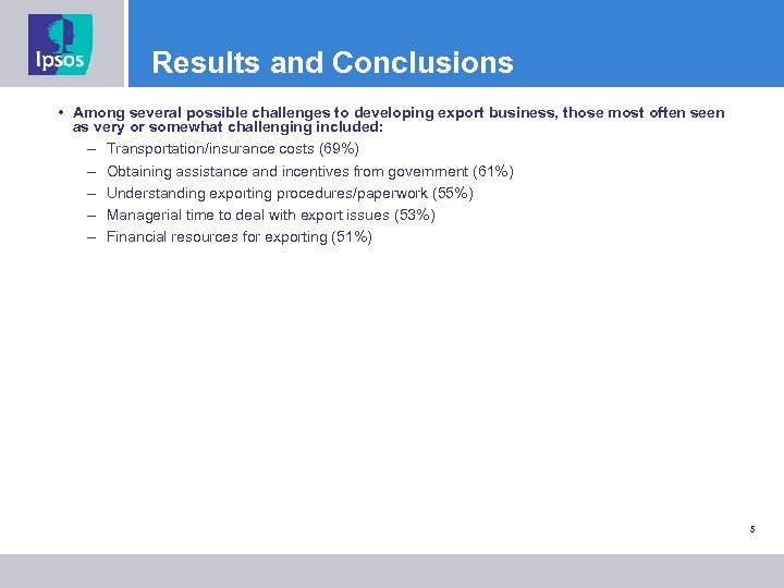 Results and Conclusions • Among several possible challenges to developing export business, those most