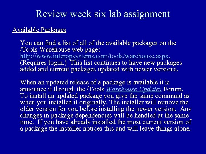 Review week six lab assignment Available Packages You can find a list of all