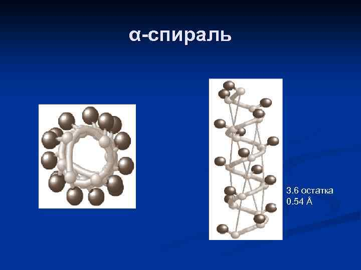 α-спираль 3. 6 остатка 0. 54 Å