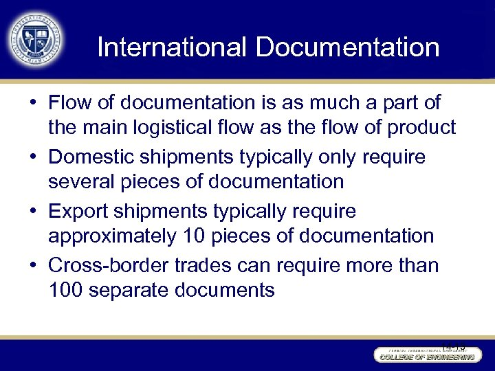 International Documentation • Flow of documentation is as much a part of the main