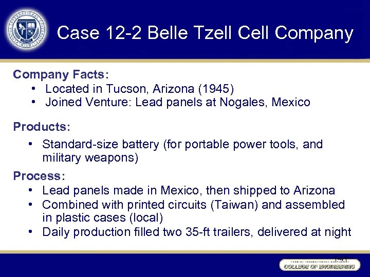 Case 12 -2 Belle Tzell Company Facts: • Located in Tucson, Arizona (1945) •