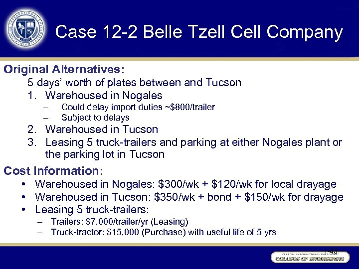 Case 12 -2 Belle Tzell Company Original Alternatives: 5 days' worth of plates between