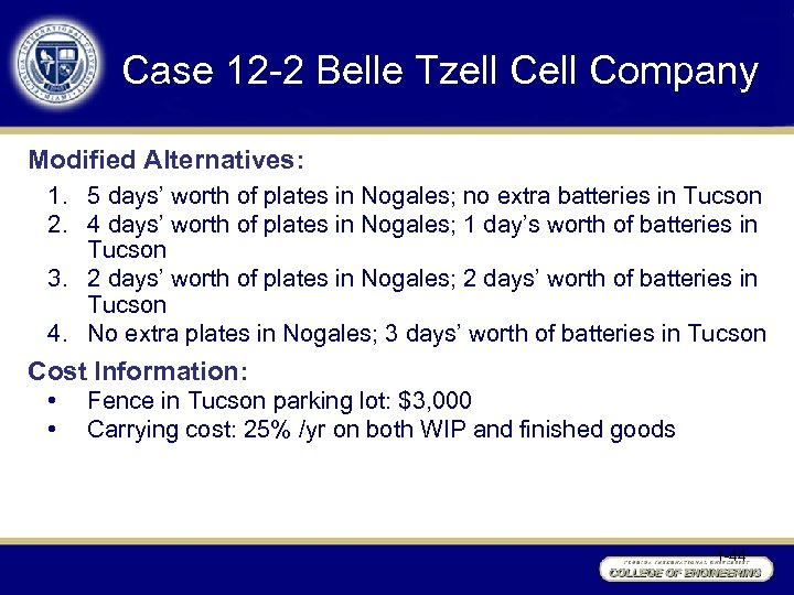 Case 12 -2 Belle Tzell Company Modified Alternatives: 1. 5 days' worth of plates