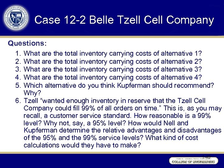 Case 12 -2 Belle Tzell Company Questions: 1. 2. 3. 4. 5. What are