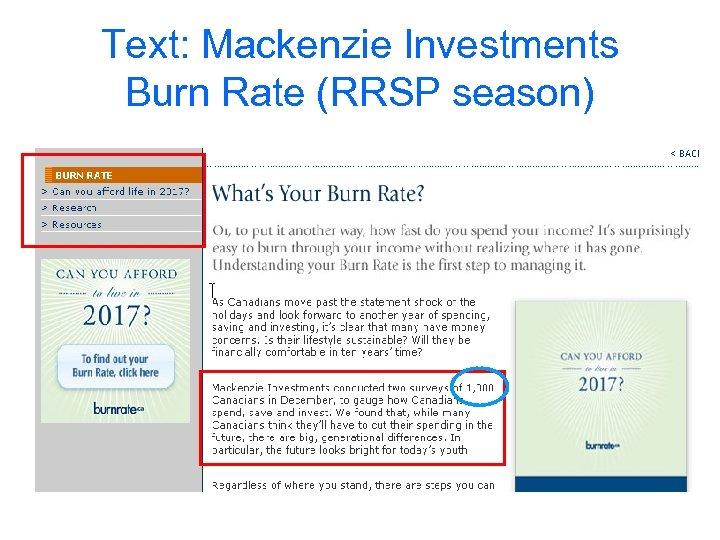 Text: Mackenzie Investments Burn Rate (RRSP season)