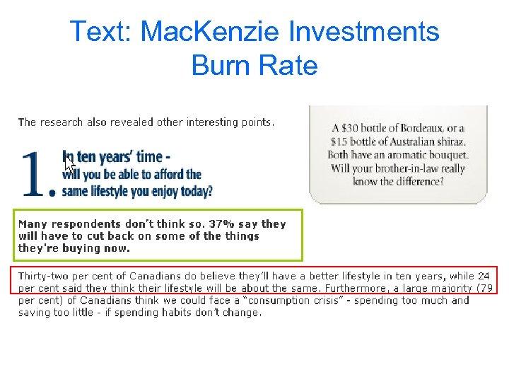 Text: Mac. Kenzie Investments Burn Rate