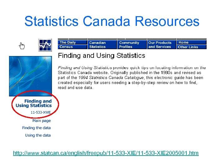 Statistics Canada Resources http: //www. statcan. ca/english/freepub/11 -533 -XIE 2005001. htm