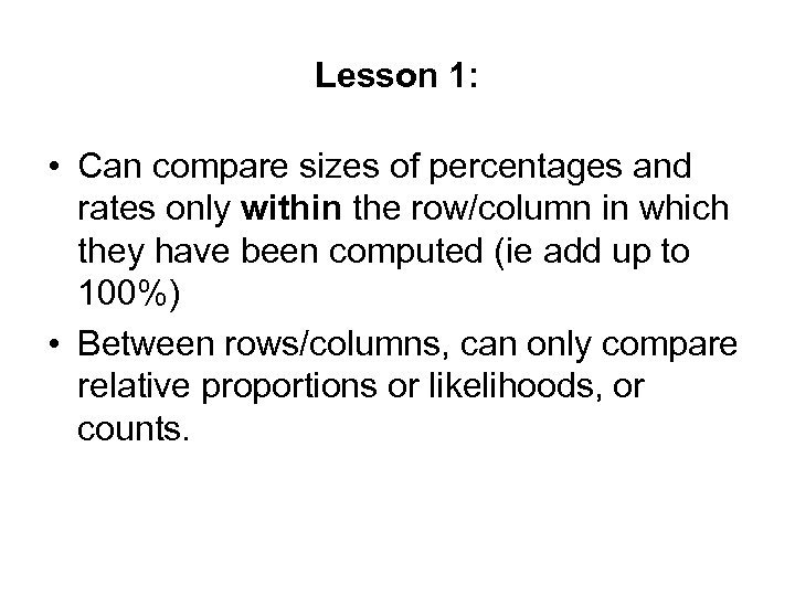 Lesson 1: • Can compare sizes of percentages and rates only within the row/column