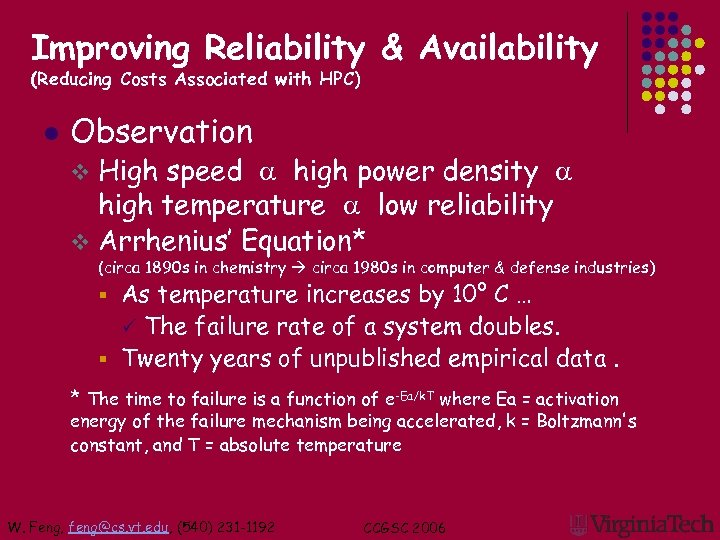 Improving Reliability & Availability (Reducing Costs Associated with HPC) l Observation High speed a