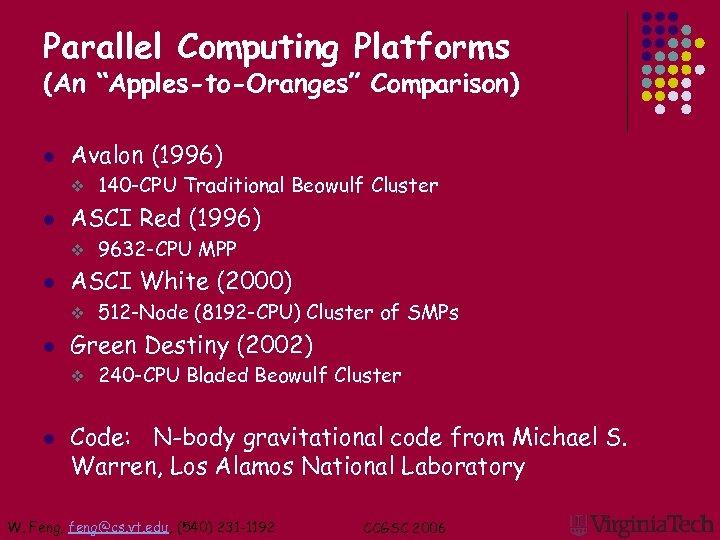 "Parallel Computing Platforms (An ""Apples-to-Oranges"" Comparison) l Avalon (1996) v l ASCI Red (1996)"