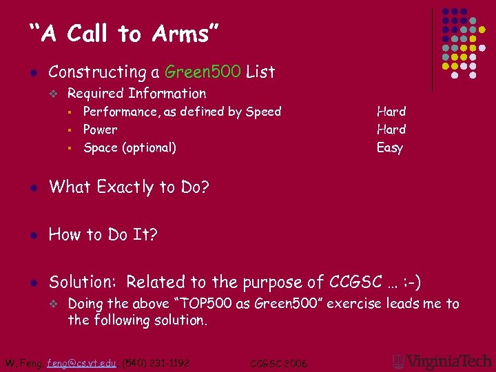 """""""A Call to Arms"""" l Constructing a Green 500 List v Required Information Performance,"""
