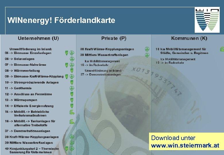 WINenergy! Förderlandkarte Download unter www. win. steiermark. at
