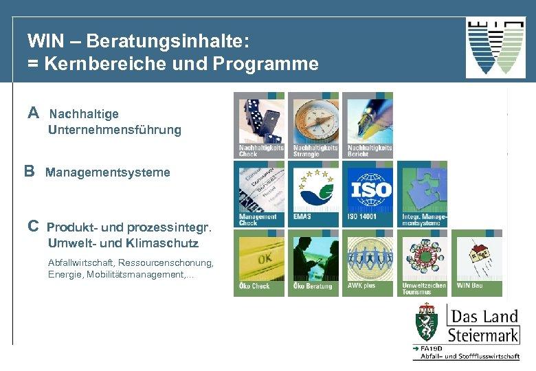 WIN – Beratungsinhalte: = Kernbereiche und Programme A B C Nachhaltige Unternehmensführung Managementsysteme Produkt-