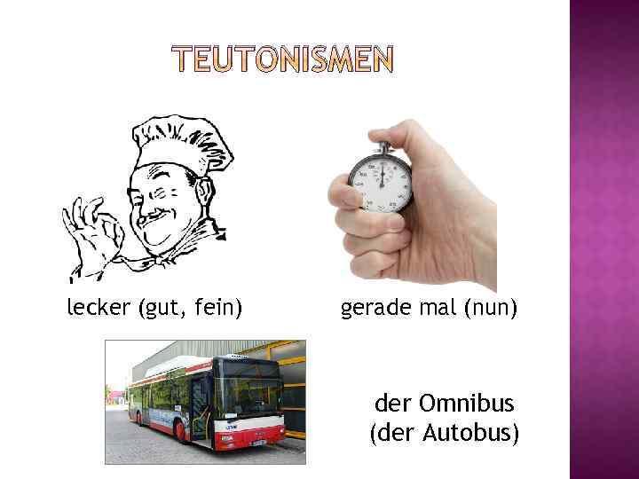 TEUTONISMEN lecker (gut, fein) gerade mal (nun) der Omnibus (der Autobus)
