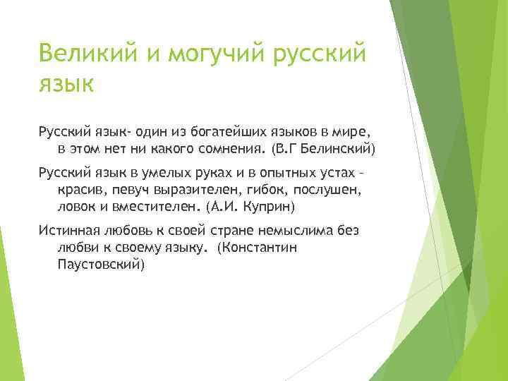 Великий и могучий русский язык Русский язык- один из богатейших языков в мире, в