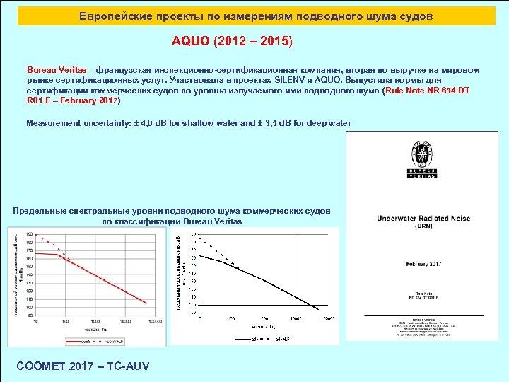 Европейские проекты по измерениям подводного шума судов AQUO (2012 – 2015) Bureau Veritas –